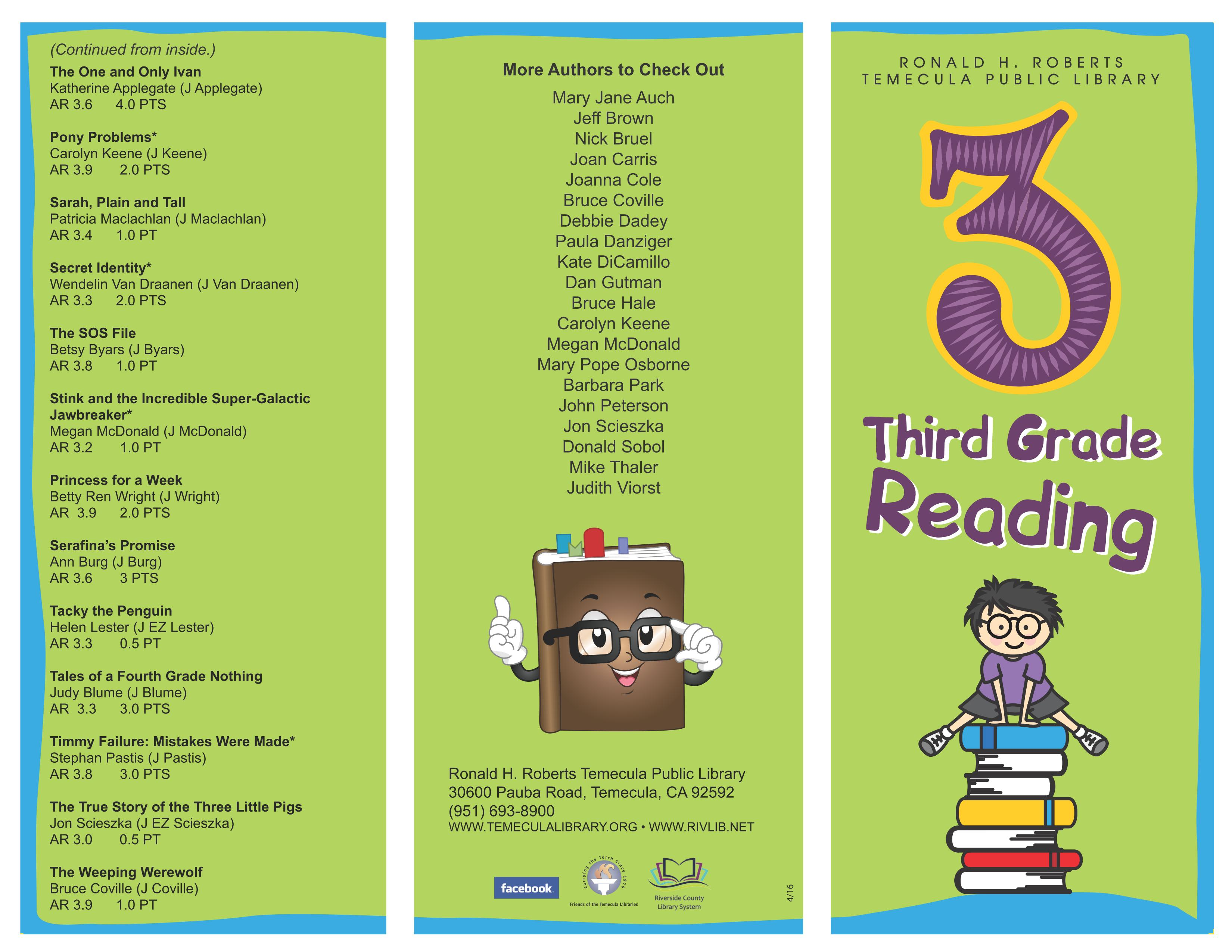 Reading Resources & Book Lists | Temecula CA