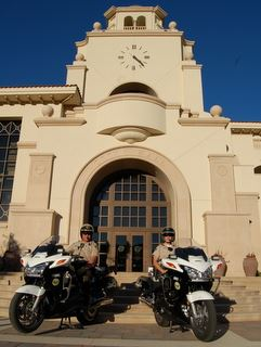 Officers on Motorcycles Outside the Police Department