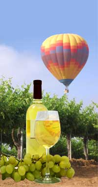 Wine bottle and glass at the balloon festival
