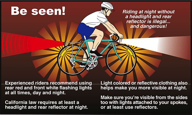 A graphic depicting information on bicycle safety (flashing lights at night)