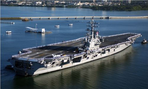 The USS Ronald Reagan on the water
