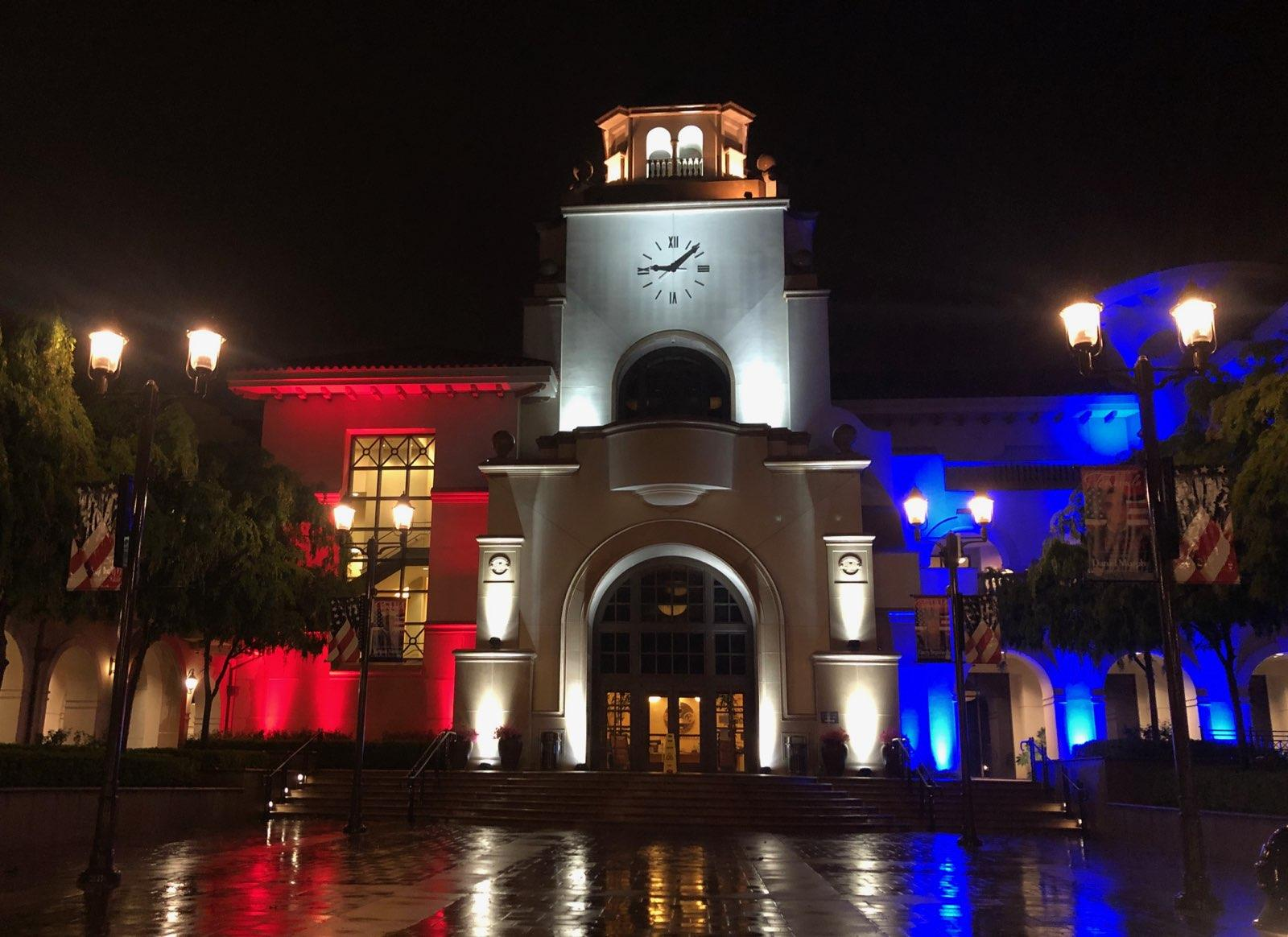 City Hall lights up red,white and blue nightly as beacon of hope