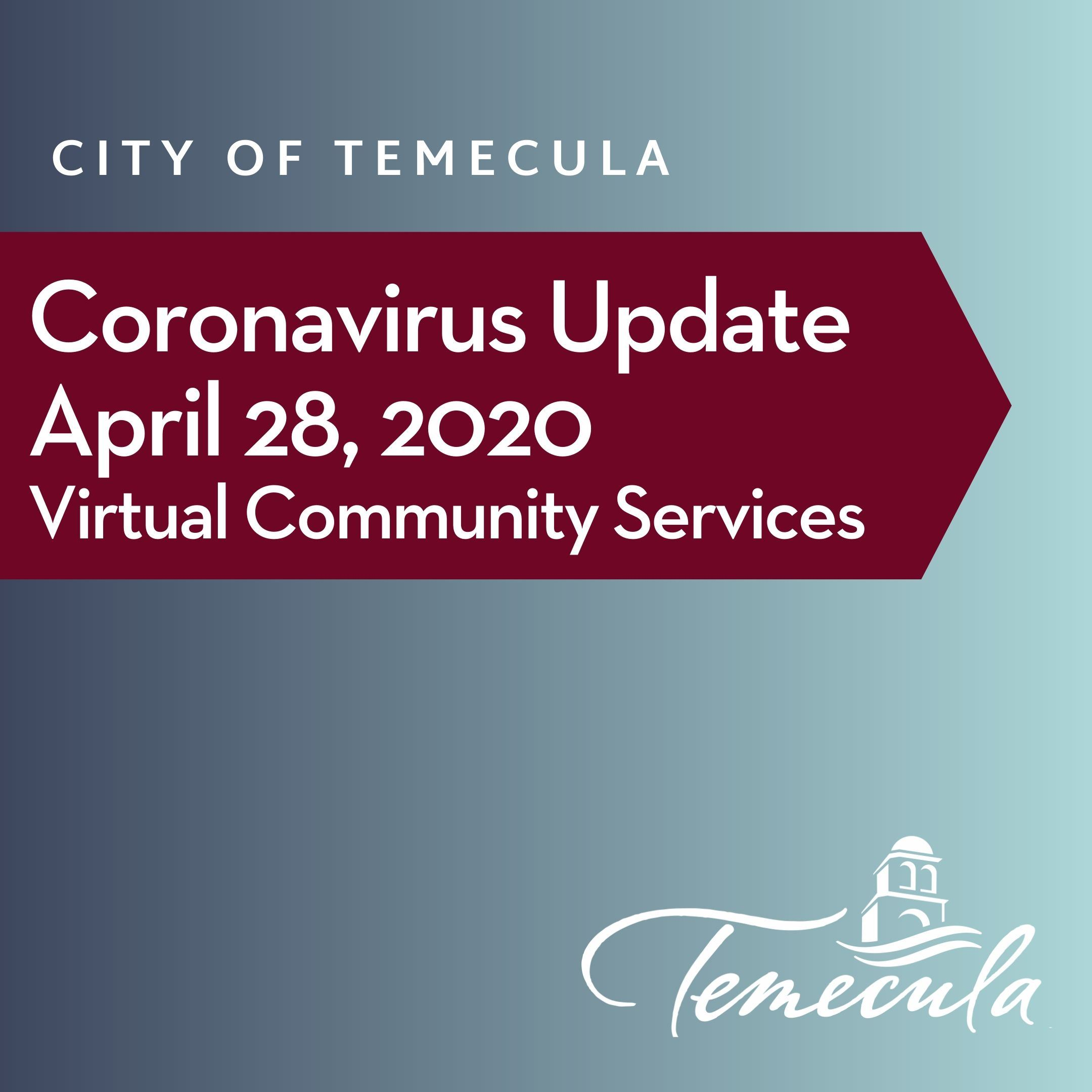 Coronavirus update April 28 - virtual community services