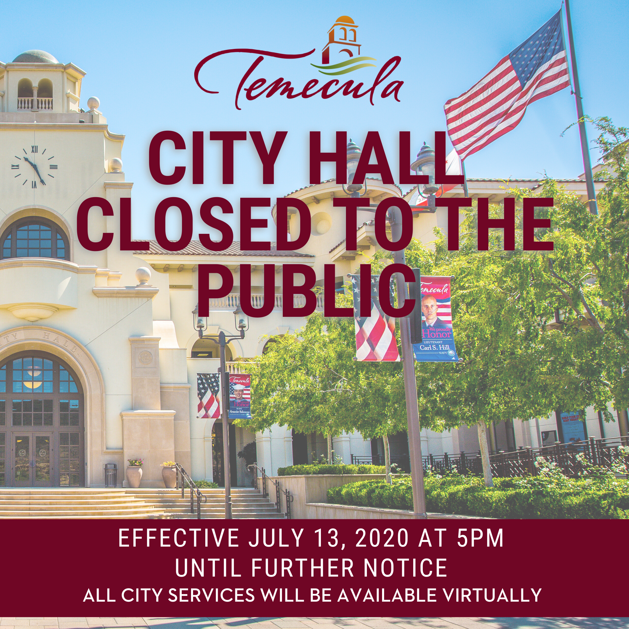 Temecula City hall Closed to the Public1