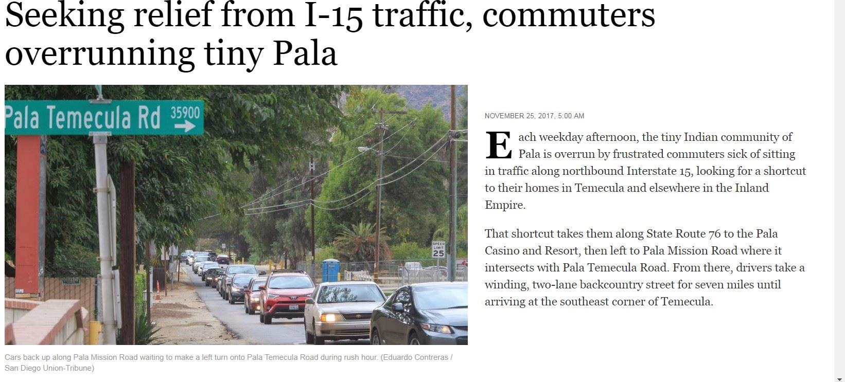 PALA OVERRUN WITH I-15 TRAFFIC