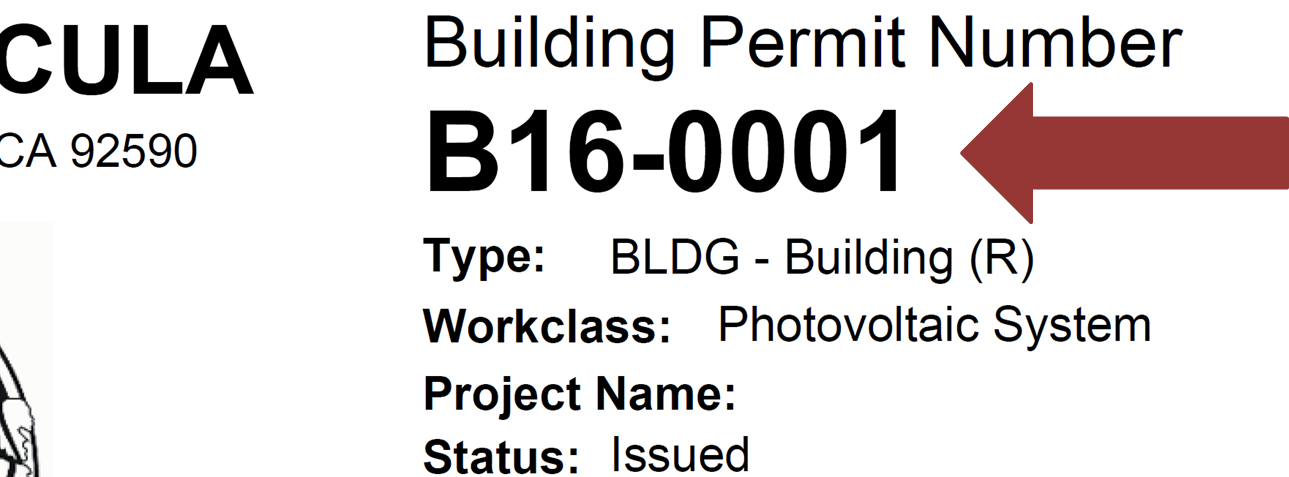 Building Permit Number Example